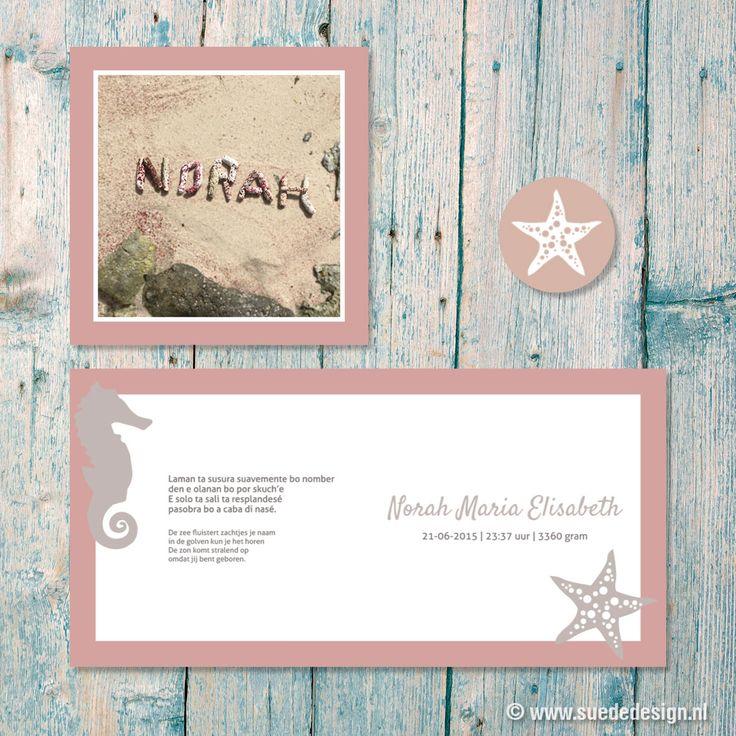 Geboortekaartje Norah - strand - zeester - koraal - roze - zeepaardje - papiamento - Aruba #suededesign