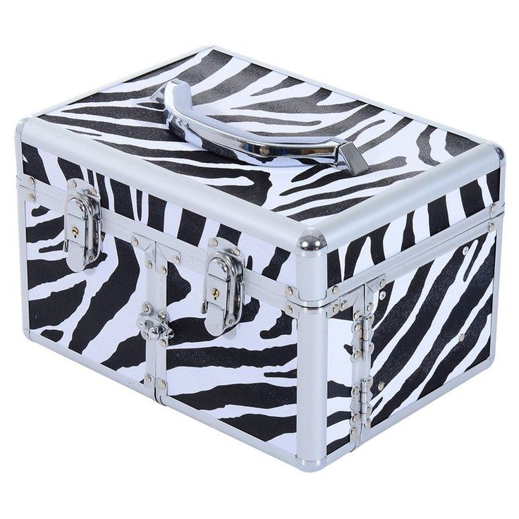 Soozier 3 Tier Lockable Cosmetic Makeup Train Case with Extendable Trays - Black / White - 501-008