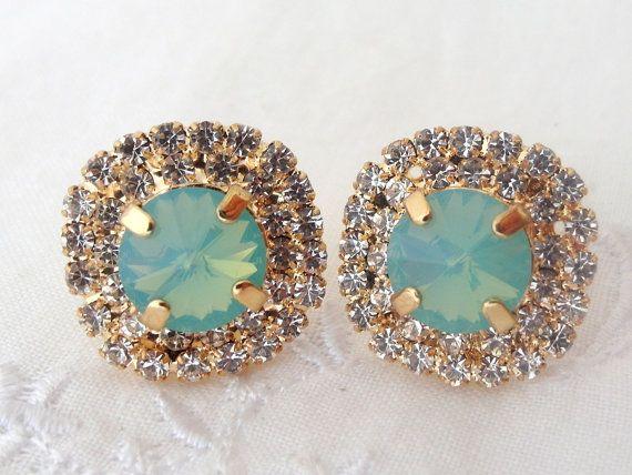 Mint green opal and clear crystal rhinstones stud earrings, Bridal stud earrings, Bridesmaids jewelry, Swarovski large stud earrings via Etsy
