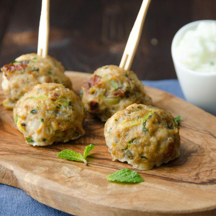 mediterranean turkey meatballs with tzatziki