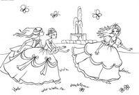 Игры принцесс - скачать и распечатать раскраску. Раскраска Принцессы играют в саду, салки, подруги принцессы, фонтан, раскраска принцесса, раскраски для девочек