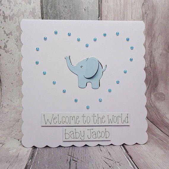 New baby card Handmade baby boy card Elephant new baby card