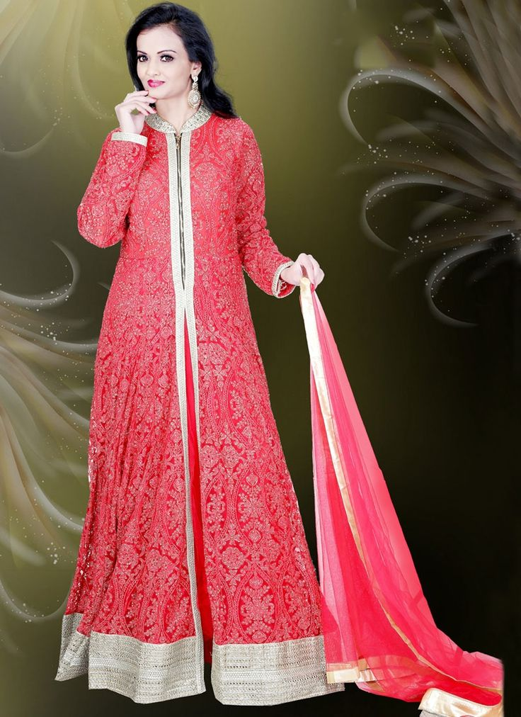 Buy Beckoning Net Resham Work Red Readymade Gown #ethnicgown #fashion #glamor