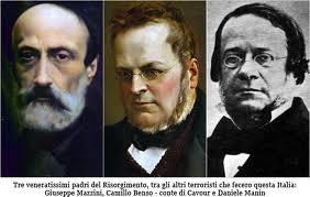 Three fathers of unification of Italy - G. Mazzini, Camillo B. conte di Cavour e D. Manin