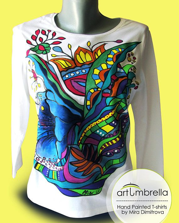 Hand painted Ladies blouse  Abstract tulips  Flowers  White
