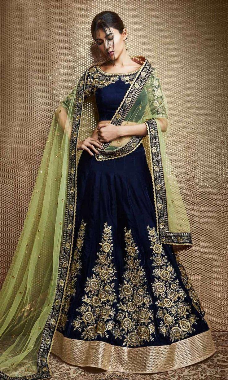 Shop Blue and Green Designer Lehenga Choli (SKU Code : LEHJDSNK5070) Online at IshiMaya Fashion.