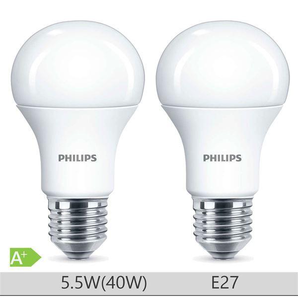 Set 2 Becuri LED Philips 5.5W E27 forma clasica A60, lumina calda http://www.etbm.ro/becuri-led