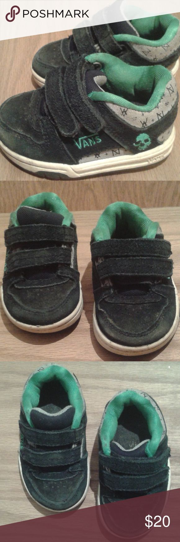 """VANS LITTLE BOYS SIZE 4, BLACK & GREEN LITTLE BOYS VANS BLACK AND GREEN. SIZE 4. NORMAL WEAR. GOOD CONDITION. Just under 6"""" long. All orders are shipped same or next business day. Bundle multiple items to save even more money! Vans Shoes Sneakers"""
