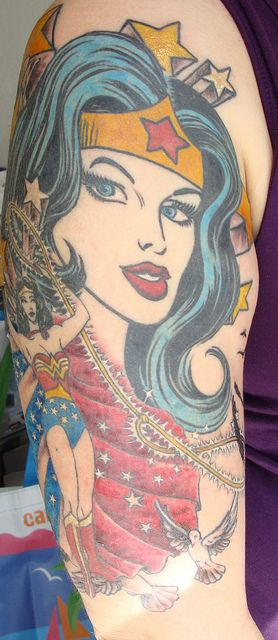 Wonder Woman half-sleeve by Rachel Bickley at Immaculate Conception Tattoo on Melrose. April 2010 --omg how awesome:)