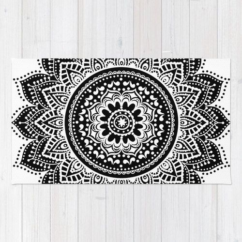 mandala rug/black and white rug/mandala floor by haroulitasDesign