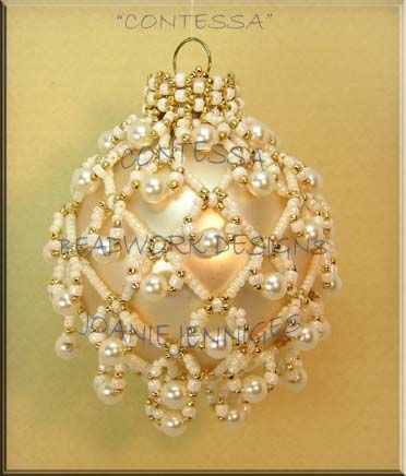 Ornament Beadwork Designs  by  Joanie  Je - See this site for a grey ornament that shows the intricacy of the stitches