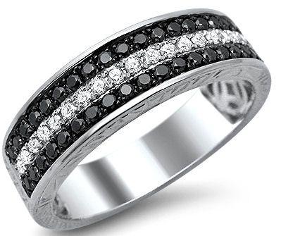 mens 85ct black white round diamond pave wedding band ring 14k white gold front