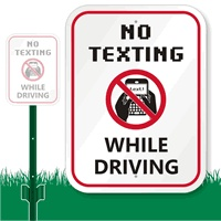 "No Texting While Driving LawnBoss Sign  12"" x 9"" Aluminum Lawnboss Sign & Stake Kit  http://www.myparkingsign.com/no-texting-driving-school-campaign.aspx"