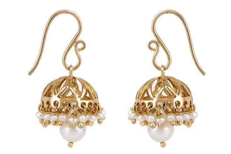 Nithila Gold Jhumka with Pearls - Jewellery / Jhumkas - Parisera