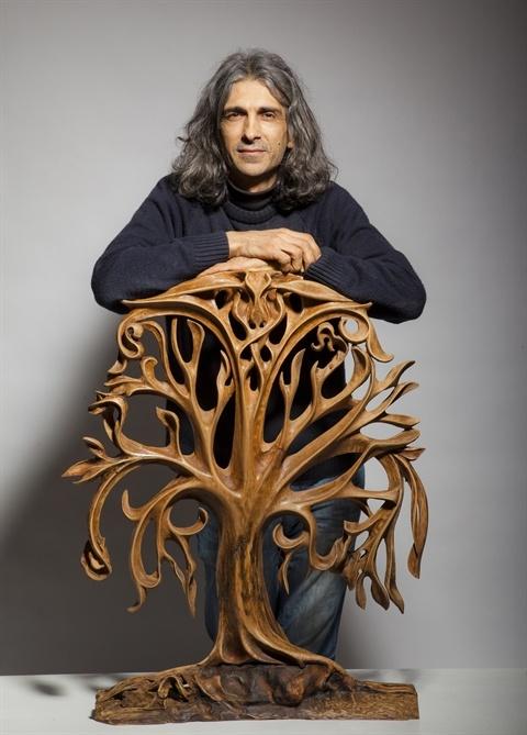 Ayhan Tomak:- The Life Tree, 2012  Sculpture  87x70cm  Material;  beech wo