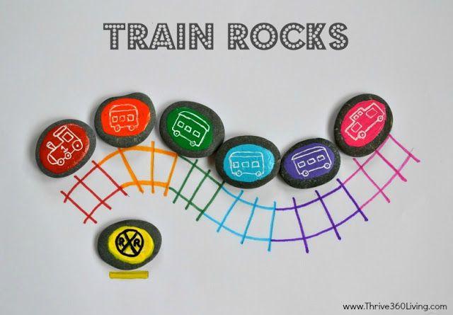 Manualidad educativa: Enseña a tus hijos lo colores! Pinta piedras de diferentes colores y dibújale un tren. Luego con lápices dibuja una línea de tren en secciones de colores y haz que tu hijo coloque cada piedra sobre el color correspondiente.