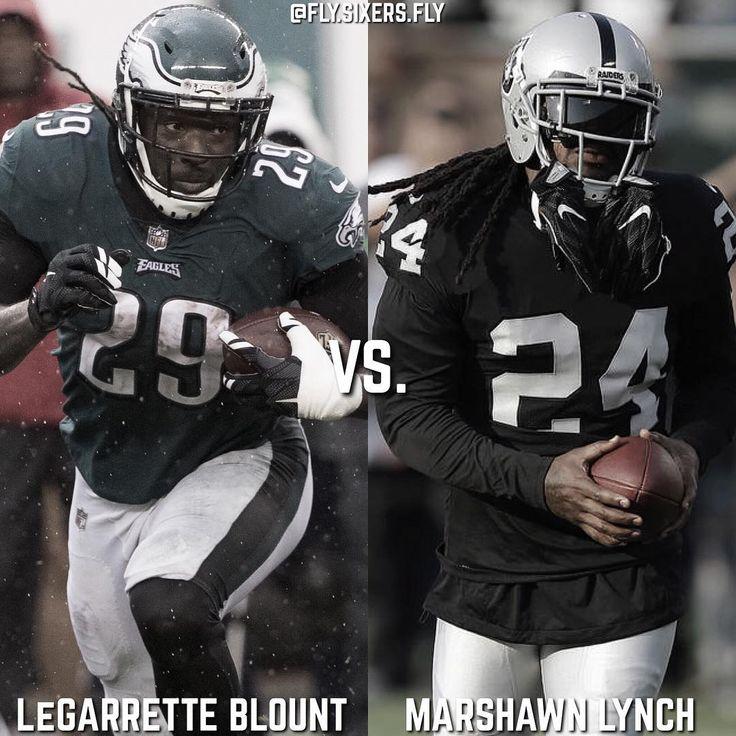Whos the better RB LeGarrette Blount or Marshawn Lynch?  - Blounts 2017 Stats: 159 Att 717 Yards 4.5 YPC 2 TD - Lynchs 2017 Stats: 163 Att  695 Yards 4.3 YPC 7 TD - Answer below!  #Philadelphia #Philly #Eagles #PhiladelphiaEagles #PHIvsOAK #AO1 #BirdGang #GangGreen #WentzWagon #InFolesWeTrust #NFL #Football #FlyEaglesFly #FlySixersFly