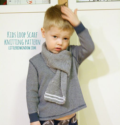 Kids Loop Scarf Knitting Pattern | littleredwindow.com | Knit this simple Loop Scarf for your little one, it's a perfect winter solution, it will keep them warm AND it stays on!