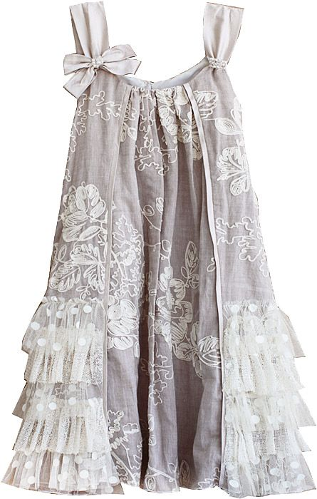 Isobella & Chloe Girls Taupe Creme Brulee Sleeveless Lace Ruffle Dress