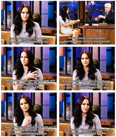 Jennifer Lawrence explaining her car accident. Why aren't we friends?