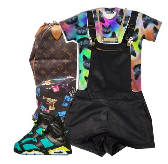 Trippy Cats by clickk-mee on Polyvore featuring Louis Vuitton, Marc by Marc Jacobs, Neff and Retrò