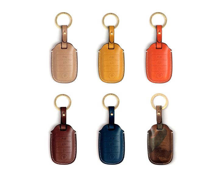 KIA 4 button smart Handmade Buttero Leather Smart Key Cover/Case   -Handmade by: Custom Republic  -Leather: Vegetable leather from Conceria Walpier & Vera Pelle -Attachment pieces: 18K gold satin coating - Colors: natural, yellow, orange, brown, navy, and camouflage -Thread & Stitching: Serafil (from Germany)  -Measurement: 5.9cm x 15.2cm