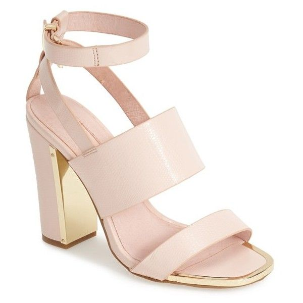 """Topshop 'Riot' Lizard Embossed Ankle Strap Sandals, 4 1/4"""" heel ($50) ❤ liked on Polyvore"""