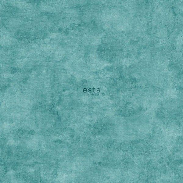 138908 HD vliesbehang waterverf aquarel geschilderde effen uni betonlook turquoise