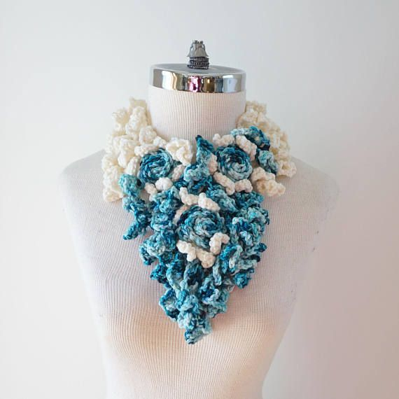 Blue and Ivory Rose Scarf, Rose Onie Abstract Scarf in blue, ivory white, hand painted Merino Wool, merino wool, blue scarf