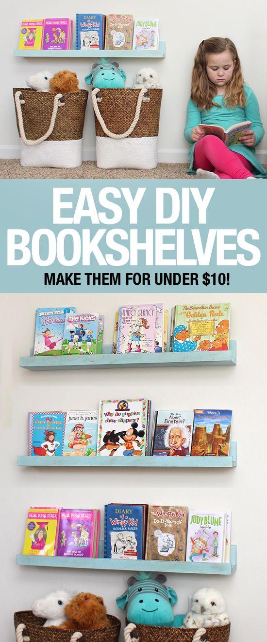 Easy to make DIY bookshelf ledges on a budget!