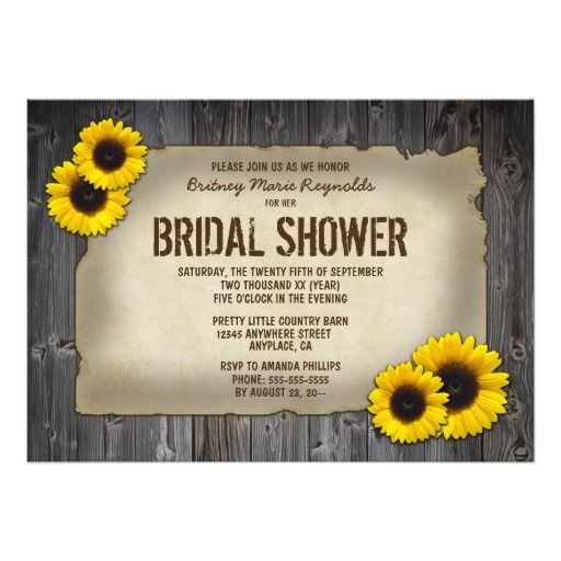 old barn wood sunflower bridal shower invitations