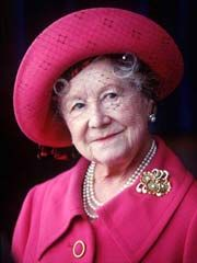 The Queen Mother:  Elizabeth Bowes-Lyon (1900 - 2002). Wife of George VI. Queen from 1936 - 1952. Mother of Elizabeth II and Princess Margaret. Adolf Hitler called the most dangerous woman in Europe because of her ability to boost British morale. She was always extremely popular, even when the rest of the royal family were disliked by the public. She died aged 101 in 2002.