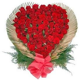 Breathless Heart  (LOVERS PARADISE )  Perfect Heart shaped arrangement of 30 stems of pure red roses for someone you love.