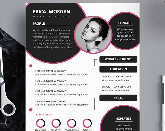 Pink Resume Template Pink Cv Template Creative Resume Template Design Professional Resume Template Instant Download Resume Template Word How To Memorize Things Resume Template Word Resume Design Template