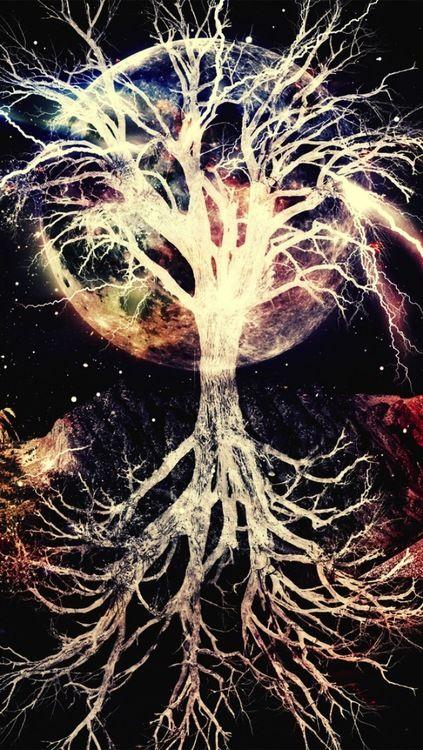 Galaxy Tree iPhone 5 Wallpaper