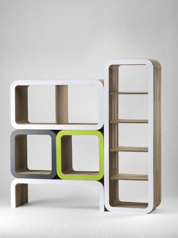 Composizione Arredo In Cartone Moretto - Libreria in cartone - Espositore in cartone - N.3 Lessmore Ecodesign
