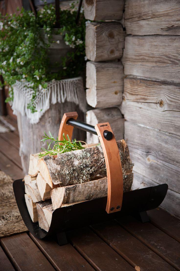 Legend fire wood basket is made of stainless steel. Wooden handle doesn't heat up in warm sauna room. #HarviaLegend #Legend