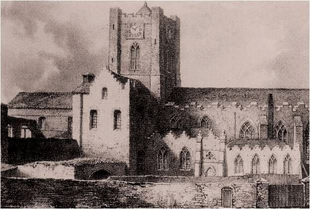 Christchurch Cathedral, Dublin, prior to restoration in the 1870s.