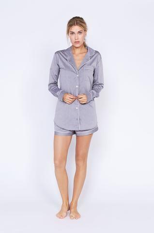 Desmond Short Grey Luxury Cotton Womens Pyjama Set