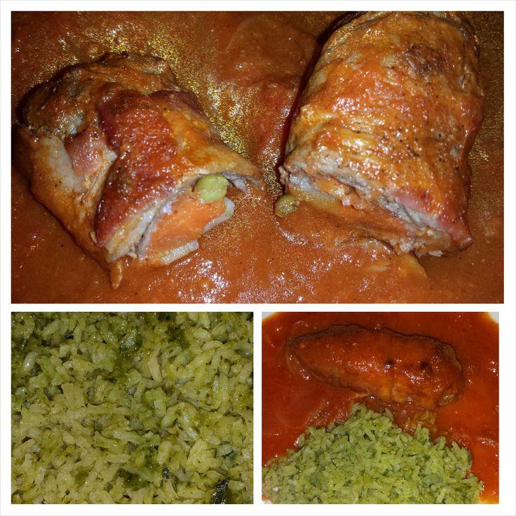 Rollitos de milanesa rellenos de vegetales en salsa de - Chipirones rellenos en salsa de tomate ...
