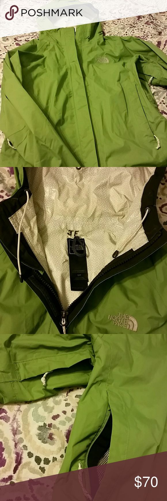 "THE NORTH FACE Women's hooded raincoat Lime green, full zip, 2 front pockets, 2 underarm pockets, velcro wrists, NO STAINS OR TEARS, ""JF"" INITIALS ON INSIDE AT NECK (see picture) The North Face Jackets & Coats Trench Coats #RaincoatsForWomenTheNorthFace"