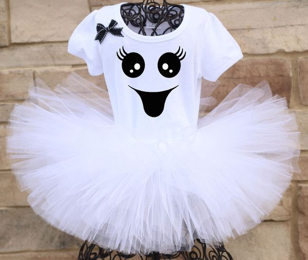 This spectacular Halloween Ghost Tutu outfit includes an extra fluffy, glittery white tutu and an adorably spooky ghost face shirt. All tutus are made with high