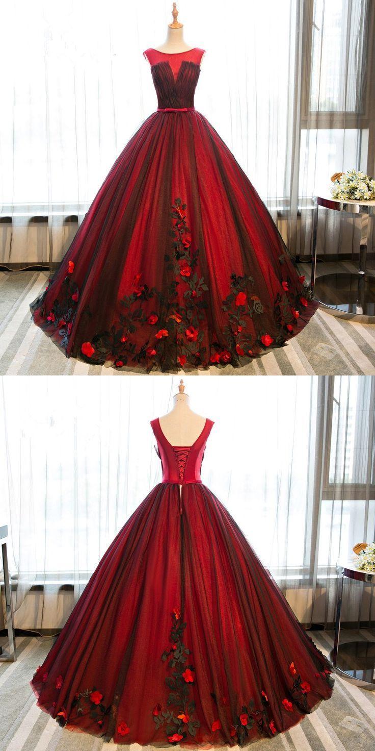 Rote Abschlussball-Kleider Prinzessin Quinceanera Dresses Modest