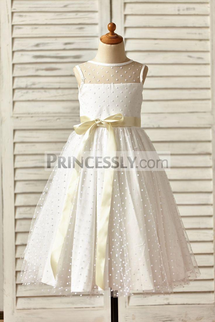 Princessly.com-K1000149-Sheer Neck Polka Dot Tulle Flower Girl Dress with champagne sash-31
