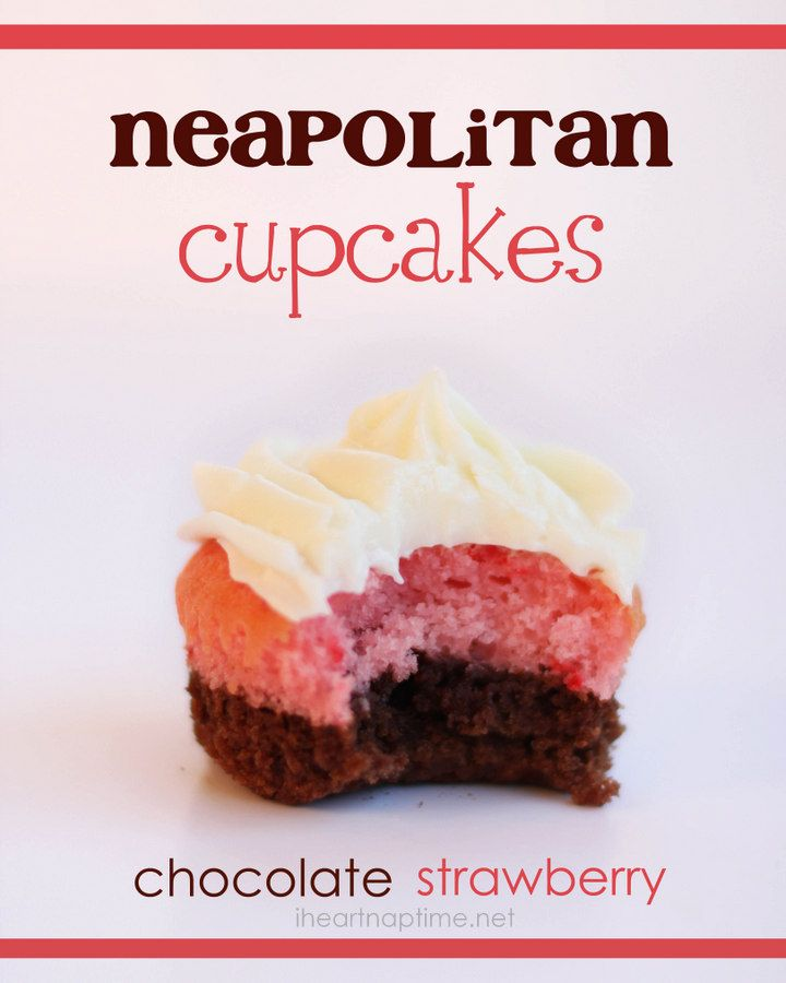 Neapolitan cupcakes! Brownie batter on bottom and strawberry cake mix on top with cream cheese frosting! Yum! #cupcakes #food