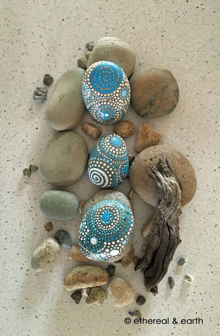 ROCK ART - Hand Painted River Rock - Natural Home Decor - Mandala Inspired Design - Nature Art - etheral & earth - blue luminescence collection #3 - $33.00 - Free US Shipping