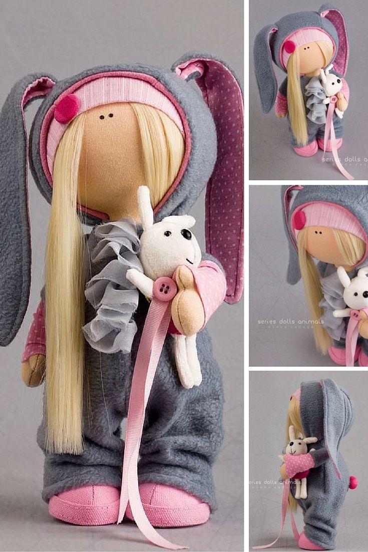Rabbit baby doll Tilda doll Interior doll Art doll blonde grey pink colors soft…