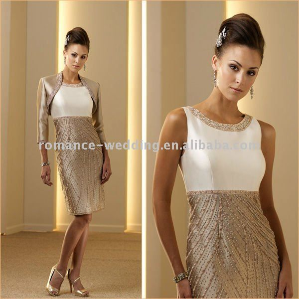 ME0016 Free Shipping High Quality Heavily Beaded Formal Knee-length Mother of the Bride Dress $173.68