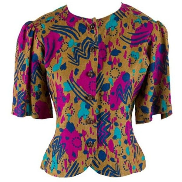 Preowned Yves Saint Laurent Multi Colored Print Short Sleeve Blouse... ($150) ❤ liked on Polyvore featuring tops, blouses, brown, short-sleeve blouse, brown top, print blouse, short sleeve tops and pattern blouses