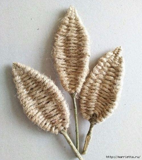 Декоративные листики из веточек и шпагата (16) (499x563, 174Kb)
